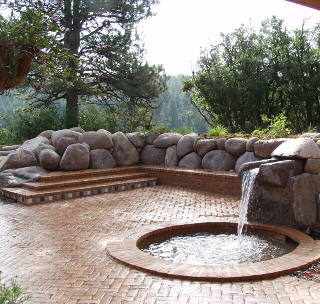 granite boulder retaining wall water feature