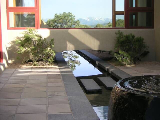 granite water feature and basalt patio