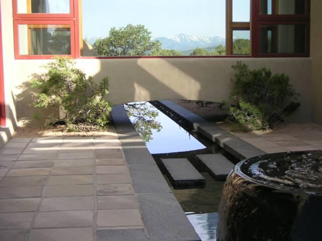 granite water feature and basalt patio