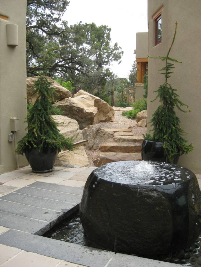 granite water feature and cap